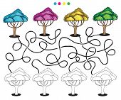 picture of puzzle  - Visual puzzle and coloring page with trees - JPG