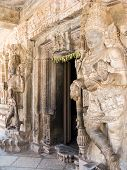 image of gatekeeper  - The entrance to the shrine of Keshava at the 13th Century temple of Somanathapur, Karnataka, South India.