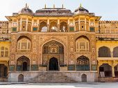 stock photo of ganesh  - Ganesh Pol at Amber Palace in Jaipur Rajasthan India - JPG