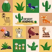 foto of desert animal  - desert animal vector in square shaped background - JPG