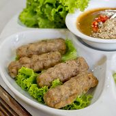 stock photo of nuong  - Vietnamese Meatball Wraps  - JPG