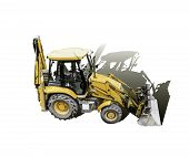 stock photo of shovel  - the mechanical shovel yellow ready for hard work - JPG
