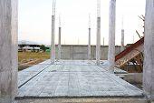 stock photo of slab  - concrete floor slab panel in building construction site - JPG