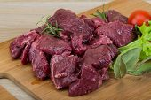 picture of deer meat  - Raw wild venison meat - ready for cooking ** Note: Shallow depth of field - JPG