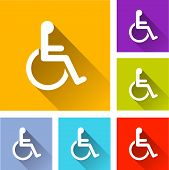 stock photo of handicapped  - illustration of flat design set icons for handicap - JPG