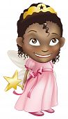picture of toddlers tiaras  - An illustration of a young black girl dressed in a fairy princess costume - JPG