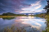 picture of bend  - Colorful sunset on the Oxbow Bend of the Snake River in Wyoming - JPG
