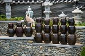 pic of kimchi  - The Korean kimchi jars or containers  on display - JPG