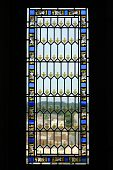 picture of stained glass  - Window in medieval castle in France - JPG