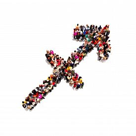 stock photo of sagittarius  - Large group of people in the shape of the zodiac sign Sagittarius on a white background - JPG