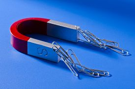stock photo of horseshoe  - Horseshoe magnet holding a bunch of paperclips - JPG