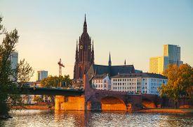 picture of frankfurt am main  - Frankfurt Cathedral in Frankfurt am Main at sunset - JPG