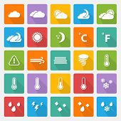 foto of windy weather  - Vector Weather white icons set with flat shadow on a color square - JPG