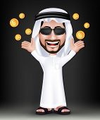 picture of won  - Realistic Smiling Handsome Saudi Arab Man Character in 3D with Thobe Dress and Sunglasses Standing Showing Gold Dollars Money Like he Won - JPG