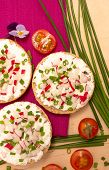 pic of vegetarian meal  - Vegetarian meal with crispy buns cottage cheese and vegetables - JPG