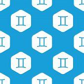 picture of gemini  - Blue image of gemini zodiac symbol in white hexagon - JPG