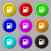 stock photo of petrol  - Petrol or Gas station Car fuel icon sign - JPG