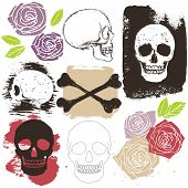 image of skull crossbones  - Big skull crossbones and rose flower grunge style set vector isolated objects and signs - JPG