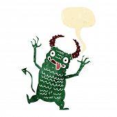 image of demons  - cartoon demon with speech bubble - JPG