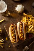 picture of wiener dog  - Barbecue Grilled Hot Dog with Yellow Mustard - JPG