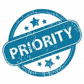 foto of priorities  - Round rubber stamp with word PRIORITY and stars - JPG