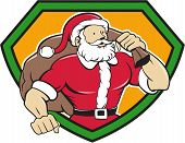 foto of christmas claus  - Cartoon style illustration of a muscular super santa claus saint nicholas father christmas carrying sack over shoulder looking to the side set inside shield crest on isolated background - JPG
