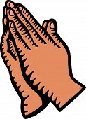 stock photo of praying hands  - A hand drawn doodle drawing of a praying hands - JPG