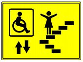 stock photo of elevator  - Elevator sign for mobility impaired people like wheelchair user - JPG