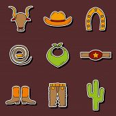 image of bull-riding  - Set of hand drawn rodeo stickers for your design - JPG