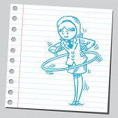 stock photo of hula hoop  - Businesswoman with hula hoop - JPG