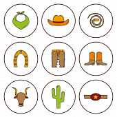 stock photo of bull-riding  - Set of hand drawn rodeo icons for your design - JPG
