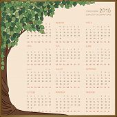 foto of art nouveau  - 2016 year calendar full all 12 months on one page in frame with art - JPG