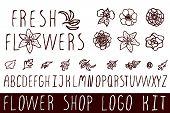 stock photo of flower shop  - Logo kit with handsketched floral elements for flower shops - JPG