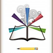 stock photo of coil  - Pencil with open book burst and coils create edit wright concept  - JPG