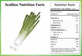 picture of scallion  - Scallions on a white background with a nutrition label - JPG