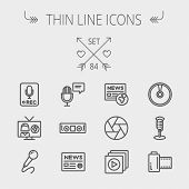 picture of tv sets  - Multimedia thin line icon set for web and mobile - JPG