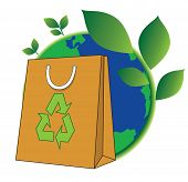 stock photo of reuse  - paper shopping bag for green world reduce reuse and recycle for save world conservation concept - JPG