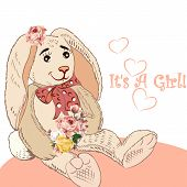 foto of hare  - Birthday greeting card with plush hare and flowers it is a girl - JPG