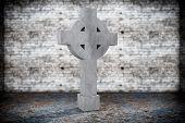 foto of empty tomb  - Closeup Blank Memorial Gravestone on grunge background - JPG