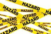 pic of hazardous  - Hazard Yellow Tape Strips on a white background - JPG
