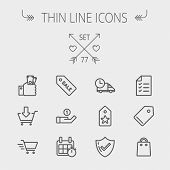 Business shopping thin line icon set for web and mobile. Set includes- sale tag, calendar with stopw poster