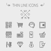 Business shopping thin line icon set for web and mobile. Set includes- shopping cart, cash register  poster