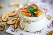 image of home addition  - home sweet yogurt with dried fruit cooked in a glass jar - JPG