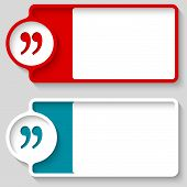 image of quotation mark  - Colored boxes for your text and quotation mark - JPG
