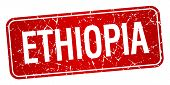 picture of ethiopia  - Ethiopia red stamp isolated on white background - JPG