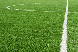 pic of grass area  - Green football Soccer field with artificial grass marking - JPG