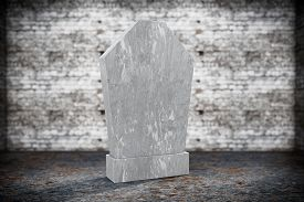 image of empty tomb  - Closeup Blank Memorial Gravestone on grunge background - JPG