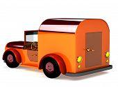 image of beetle car  - 3d orange toy car isolated on white - JPG