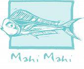 image of mahi  - tropical fish Mahi Mahi swims in a woodcut style image - JPG
