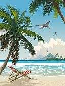 Paraíso tropical. Ilustración del vector de la playa tropical.